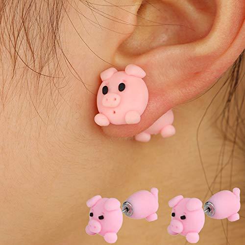 quanjucheer Lindo Adecuado para Mujeres 3D Arcilla Polimérica Dibujos Animados Cerdo Stud Pendientes Animal Piercing Joyería Rosado