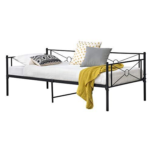 [en.casa] Metallbett Alvesta 90x200 cm mit Kopf- und Fußteil Tagesbett mit Lattenrost Jugendbett Gästebett Stahlrahmen Schwarz