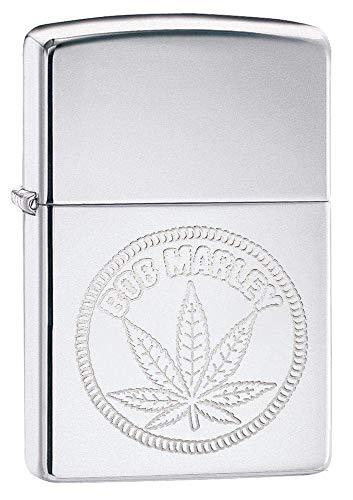 Zippo Unisex BOB Marley, Weed Stamp Winddichtes Feuerzeug, Chrome, Regular