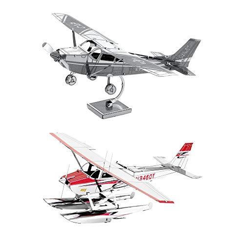 Fascinations Metal Earth 3D Metal Model Kits Set of 2 Cessna 172 - Cessna 182 Floatplane