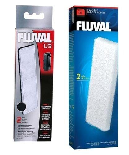 Fluval U3 - Filtro de carbón y espuma para acuario, paquete doble