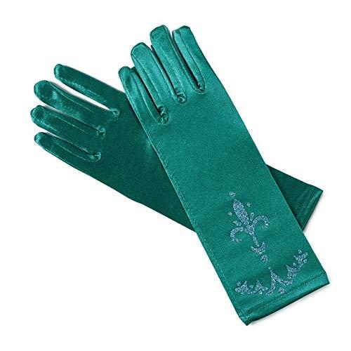 Guantes de niña Guantes de Dedo Largos 24 cm Ropa Estampada Niña Fiesta de Halloween Accesorios de Disfraz de Princesa-Dark Green