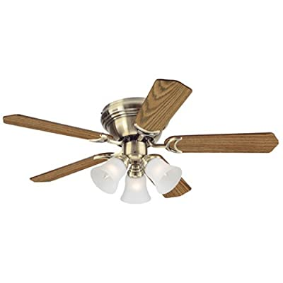 Westinghouse 7837700 Contempra Trio Three-Light 42-Inch Reversible Five-Blade Indoor Ceiling Fan, Oil Rubbed Bronze with Frosted Glass Shades
