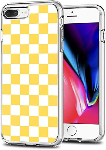 Sliiq Pure Clear Case Transparent Soft TPU Protective Cover Case Compatible for iPhone 6 /6S 4.7' Mustard Yellow and White Checkerboard Pattern