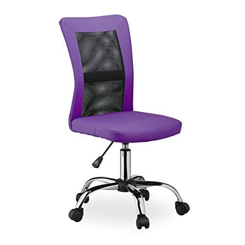 Relaxdays Silla de Oficina giratoria de Altura Ajustable, ergonómica, cómoda, soporta hasta 90 kg, 102 x 55 x 55 cm, Color Morado