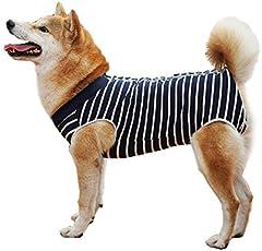 BT Bear Trajes de recuperación de cirugía para perros, suave algodón elástico, camiseta de recuperación de mascotas después de la cirugía, ropa antilamidas para perros pequeños (S, rayas azules)