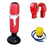63インチの自立型のボクシングパンチングバッグ フィットネスの練習用重量袋 フットポンプとボクシンググローブ,赤