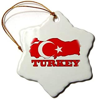 Emily Christmas Decoration The Flag of Turkey in The Outline Map and Name of The Country Turkey Ceramic Snowflake Ornament Xmas Gifts Ideas