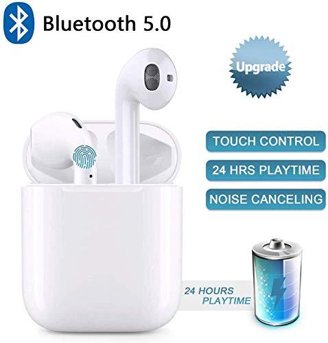 Bluetooth Kopfhörer in Ear Kabellos Kopfhörer, Wireless Earbuds mit 4 Mikrofon + IPX6 Wasserdicht Sport Kopfhörer Bluetooth Headset mit 24 St Akkulaufzeit - Weiß