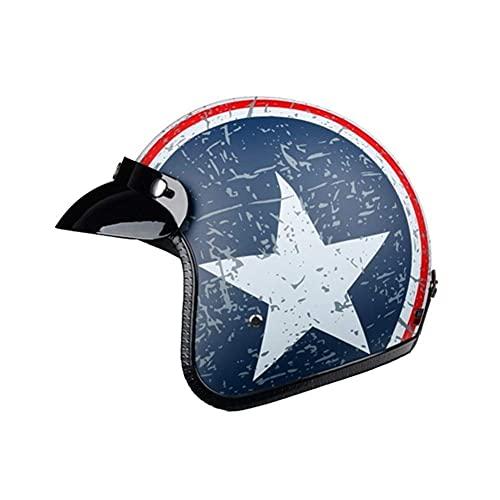 MTWERS Casco de moto Jet Jethelm Capitán Star Vintage Pilot Cafe Racer Casco Verano MotocrossHelme (Color: Azul Claro Blanco, Talla: XXL), Talla: XL, Color: Negro y Blanco (Color: UK) LIUM