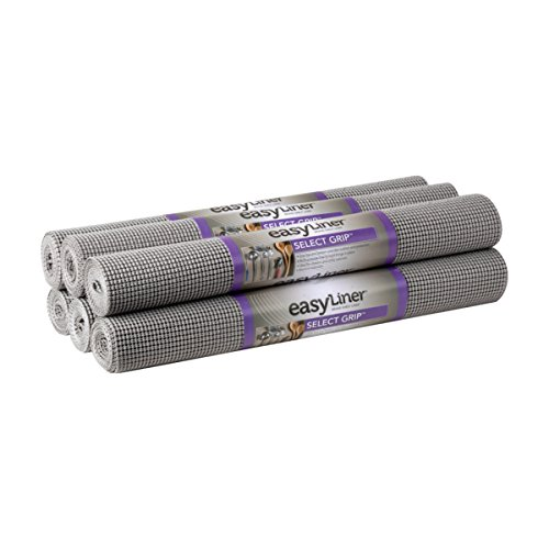 "Duck Select Grip Easy Liner Shelf Liner 20"" Wide Kitchen Pack, 6-Rolls, Each 6' Length, Grey"