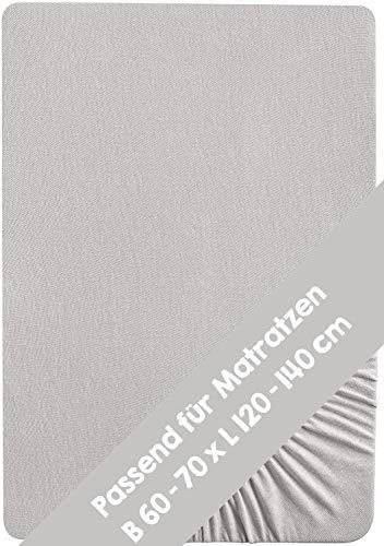Drap-housse Roba pour matelas d'enfant, collection « Lil Planet », jersey simple 100% coton biologique, drap-housse compatible avec les matelas de 70 x 140 cm, drap pour lit de bébé, gris