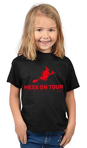 Kinder Halloween T-Shirt - Kindershirt Halloweenparty : Hexe on Tour - Kinder Tshirt Hexe Fliegender Besen Gr: S = 122-128