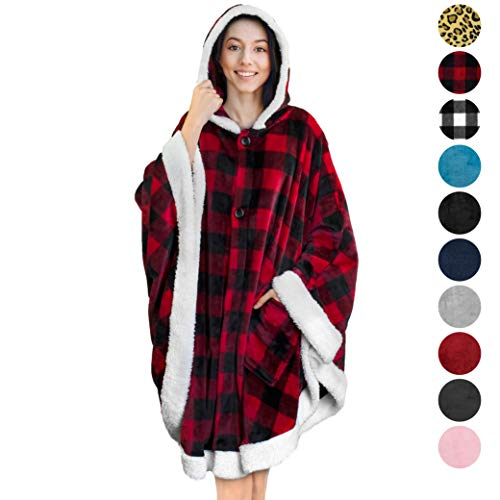 PAVILIA Angel Wrap Hooded Blanket | Throw Poncho Wrap with Soft Sherpa Fleece | Plush, Warm Wearable Blanket with Pockets for Women Gift (Checker Red)