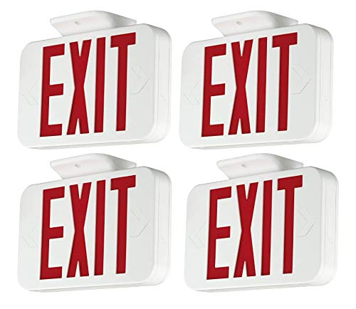 LFI Lights COMBOTR UL Listed 2 Pack Red Battery Backup Ultra Thin Hardwired All LED Combo Exit Sign Emergency Light