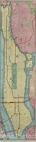 Historic Map - 1908 Borough of Manhattan, Vintage Wall Art - 11in x 44in
