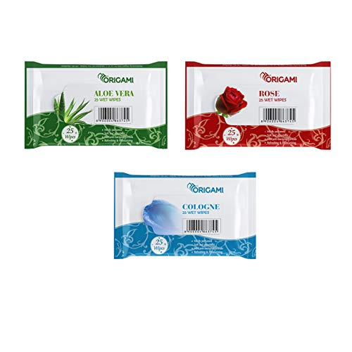 Origami Wet Wipes – 25 Wipes per Pack – 3 Packs – Total 75 Wipes – Assorted