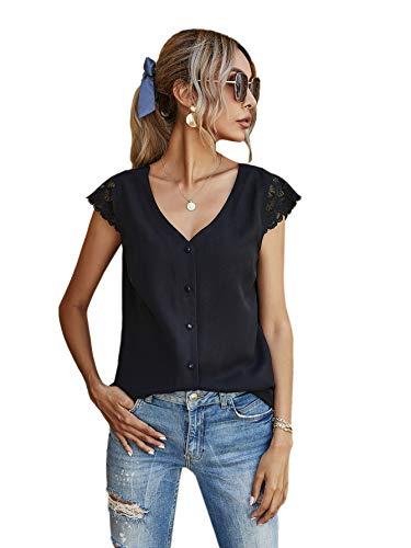 DIDK Blusa elegante para mujer, cuello en V, parte superior informal con encaje Negro XS