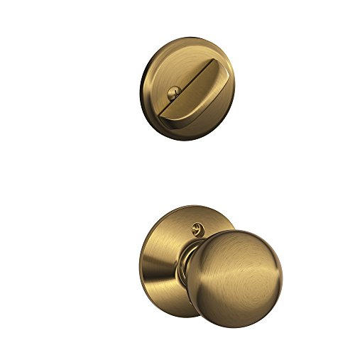 Schlage F59 ORB 609 Orbit Interior Knob with Deadbolt, Antique Brass (Interior Half Only)
