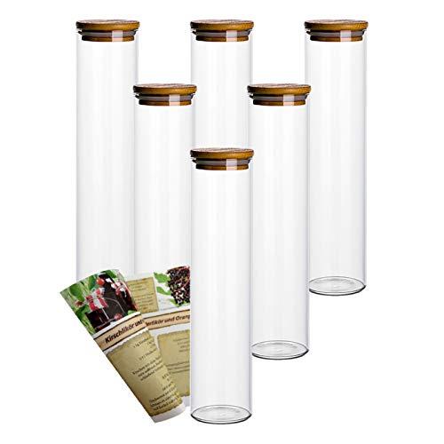 gouveo 6er Set 750 ml Glasbehälter aus Borosilikatglas mit Bambus-Deckel, Vorratsgläser, Gewürzgläser, Glasdosen, Vorratsdose (6, 750 ml schmal)