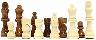 Attatoy Set of Complete Wooden Chess Pieces (32 Pieces), Wooden Replacement Chess Figures with Kings, Queens, Castles, Knights & Pawns