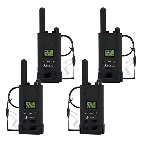 Cobra PX500 Walkie Talkies Pro Business Two-Way Radios (Four Pack, Bundled with Four GA-SV01 Headsets)