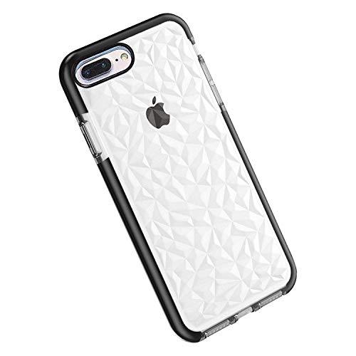 Funda iPhone 8 Plus / 7 Plus, Carcasa Silicona Transparente Protector TPU Airbag Anti-Choque Ultra-Delgado Anti-arañazos Case 3D Modelo de Diamante Funda (iPhone 7 Plus / 8 Plus, Negro)