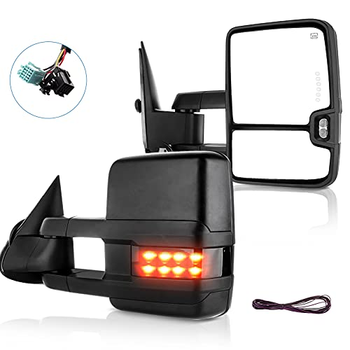 ECCPP Towing Mirrors Pair Side Replacement fit for 2003-2007 for Chevy Silverado GMC Sierra Power Heated Signal Light