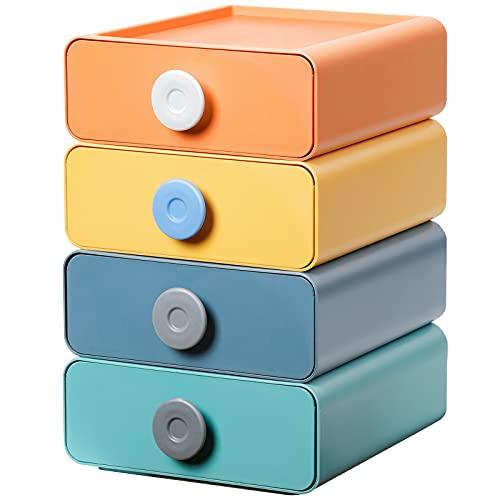 Yorbay Set di 4 scatole impilabili per cassetti da ufficio, organizer scrivania ufficio per sistemazione e cosmetici, con cassetti scrivania, dimensioni singole 20 x 21 x 8 cm, 4 colori