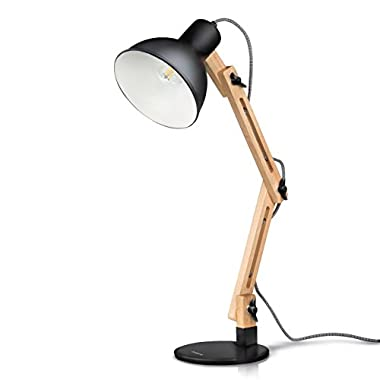 Tomons Swing Arm LED Desk Lamp, Wood Designer Table Lamp, Reading Lights for Living Room, Bedroom, Study, Office, Bedside Nightstand Lamp with 4W LED Bulb - Black