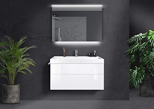 Intarbad ~ Badmöbel Bella grifflos 100 cm Evermite Waschtisch, mit Unterschrank und LED Lichtspiegel Weiß Matt Lack IB1818