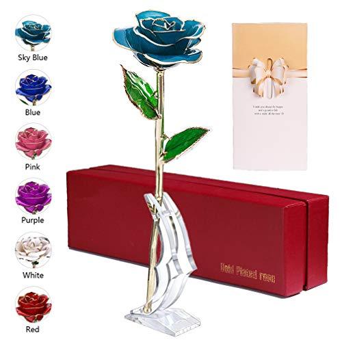 Anaoo Rosa 24K, Rosa Eterna Flores Chapadas en Oro con Caja de Regalo para el Día de San Valentín Día de la Madre, Aniversario, Cumpleaños, Azul Celestial