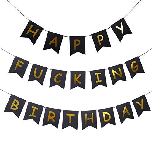 Amosfun feliz maldito cumpleaños bunting banner banner de guirnalda de cumpleaños decoraciones de fiesta de cumpleaños de oro y negro