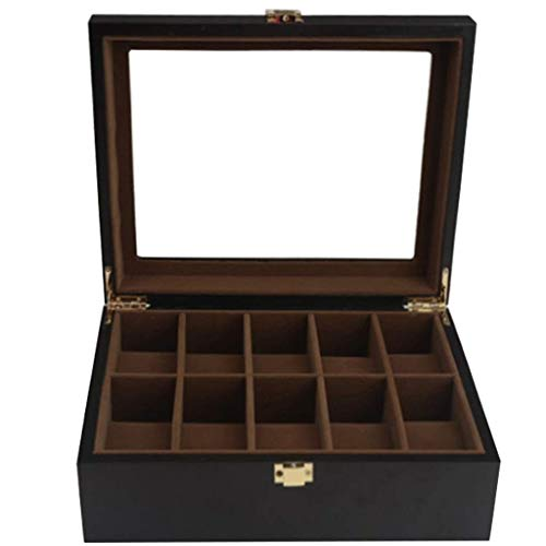WWKDM Caja de Reloj de 10 Ranuras Caja de Almacenamiento con Cerradura Gabinete de exhibición Bandeja de Valet para Hombres Tienda de Joyas Pulsera con bisagra de Metal Funda de Almohada Regalo de