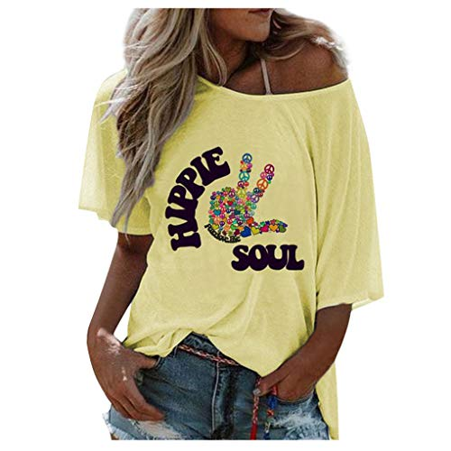 Dorical Sommer Rundhals Kurzarm Letter Print Klassisch Loose T-Shirt Top Tshirt Casual T-Shirt Tunika Top Bluse Oberteile Einfach Funny (M, 02 Gelb)