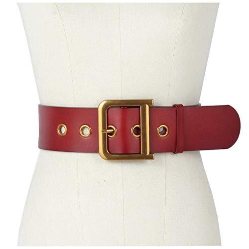 HJFDEW Inserto in Pelle Color Caramella con Fibbia a D da Donna, Vestito in Maglione, Cappotto Dwon, Cintura Larga, Rosso, 90 cm