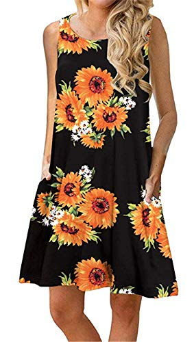 Summer Casual Tshirt Dresses for Women Swing Sun Dress Beach Swimsuit Cover Ups with Pockets X-Large Sun Floral