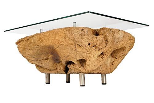 Windalf Elvira H Table basse haut de gamme en teck avec plateau en verre et table de télévision en bois de racine 46 cm