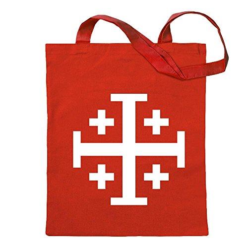 Kiwistar Jerusalemkreuz Tragetasche Baumwolltasche Stoffbeutel Umhängetasche Langer Henkel