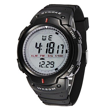 Fashion Watches Schöne Uhren, Synoke Herrenuhr Sport Digitale Wasserdichte Armbanduhr mit Wecker Stoppuhr Führte (Farbe : Schwarz, Großauswahl : Einheitsgröße)