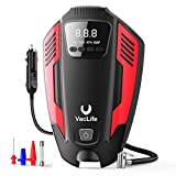 VacLife Air Compressor Tire Inflator, DC 12V Air Pump for Car Tires, Bicycles and Other Inflatables, Auto Portable Air Compressor with LED Light & 11.5 Feet Long Power Cord, Red (VL711)