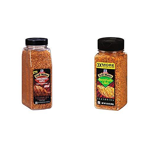 McCormick Grill Mates Smokehouse Maple Seasoning, 28 oz & Roasted Garlic & Herb Seasoning, 9.25 Ounce (Pack of 1)