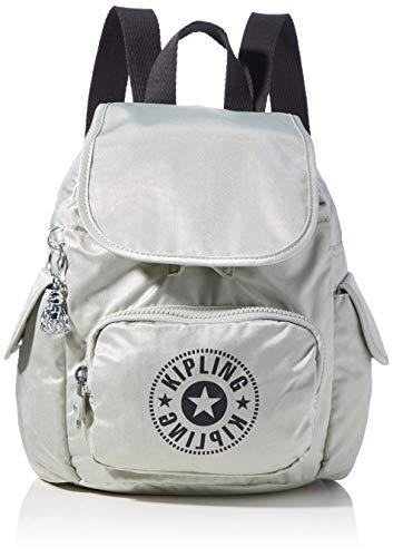 Kipling City Pack Mini, BACKPACKS para Mujer, Dynamic Silver, 14x27x29 cm (LxWxH)