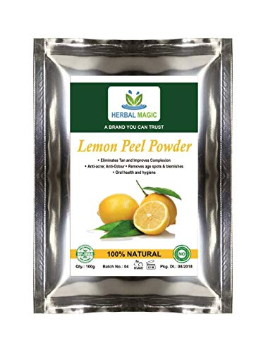 Herbal Magic's Pure & Natural Pesticide Free 100G Lemon Peel Powder FACE BRIGHTENING MASK Pack Pore Cleansing Anti Blemish Acne AGEING Glowing Skin Care EXFOLIATOR Scrub Beauty