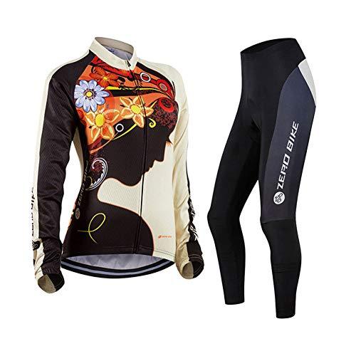 Damen Atmungsaktiv Schnelltrocknend Fahrradtrikot Set, Outdoor Lange Ärmel Radsport-Shirt + 3D Gel Gepolsterte Fahrradhose, M, 001