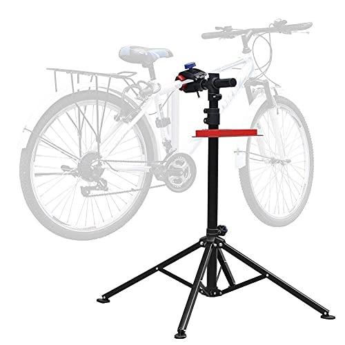 Amzdal Fahrrad-Montageständer, Fahrrad-Reparaturständer mit Werkzeugablage, Rahmen aus Aluminiumlegierung mit klappbarer und höhenverstellbarer Werkzeugablage, belastbar 30KG