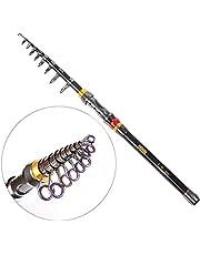 Soradoo Teleskopisk fiskespö bärbar kolfiber fiskespö saltvatten sötvatten resa infällbar spinnfiskespön, total längd: 1,8–3,5 m (krympningslängd 40–48 cm)