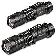 Laneco SK68 (2 Stück) LED Taschenlampe mit Superheller Hochleistungs - Taktische Taschenlampe - Tragbare Wasserdichte Taschenlampe fürs Freie mit Einstellbarem Fokus und 3 Lichtmodi für Campen Wandern