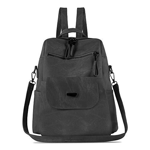 Damen-Rucksack, wasserdicht, diebstahlsicher, leicht, PU-Leder, Nylon, Schultertasche, Reiserucksack für Damen, Mehrere (schwarz grau), Large