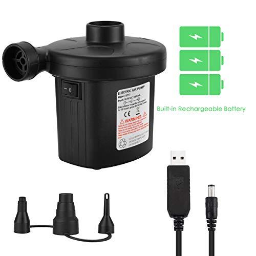 NOZOMI Wiederaufladbare elektrische Luftpumpe, schnelles Aufblasen / Entleeren des elektrischen Inflators mit 3 Düsen für Luftmatratze Luftbett Aufblasbares Bootssofa (USB-Adapter: 5 V)